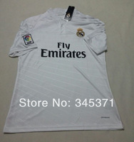 To! Thailand Quality 14 15 Real Madrid Home White Soccer Jersey 2015 Real Madrid Shirt free custom name and number