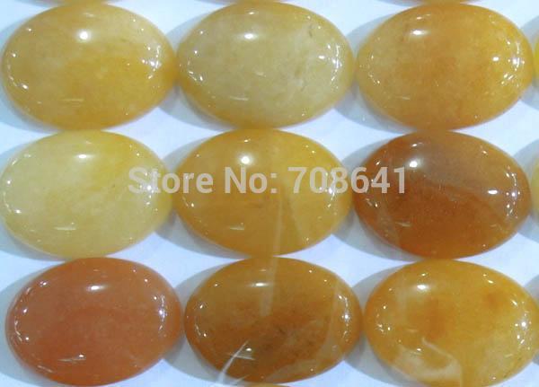 18x25mm New Oval Dome Yellow Jade Cabochon Stone CAB Jewelry beads Wholesale(China (Mainland))