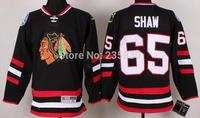 2014 new style Chicago blackhawks andrew shaw jersey 65# black ice hockey jersey embroidery logos full size instock