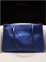 Fashion brief women's fashion genuine leather handbag big bags female version of the women's pearlizing shoulder bag leather bag