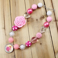 NB40521 2pcs/lot Solid beads Pink Rose Flower chunky Bubblegum bottle cap Pendant princess kids necklace
