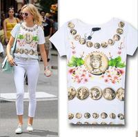 2014 New arrival fashion print rivet decoration short sleeve cotton t shirt women 2colors S,M,L Wholesale price
