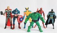 6pcs 14cm the avengers actions figures heros Captain America/Wolverine/Thor/Iron Man/Spider man/Batman/Hulk classic dolls toys