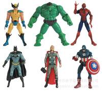 "6pcs/sets The Avengers 5"" Captain America Wolverine Thor Spiderman Batman Action Figures Toys Gifts Boy children dolls superhero"