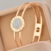 Fashion Luxury Crystal Imitated diamond two lines round Bangles Titanium Pink Rose Gold Bracelet Bangle Jewelry Women Acessories