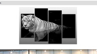 LARGE TIGER CANVAS PICTURE BLACK WHITE SPLIT MULTI oil painting (no framed)