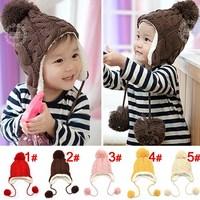 Free shipping 1piece Winter warm Baby Kids Skullies Boy/girls kids Hat  children cap, 5 colors plus velvet Beanies