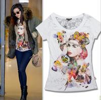 2014 New arrival fashion print beading butterfly decoration short sleeve cotton t shirt women 2colors S,M,L Wholesale price