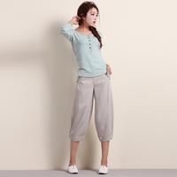 Myrmeco- women's linen pants bloomers national trend loose harem pants casual pants capris