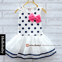 2014 new summer girls dress vest candy colored bow girls veil dress wholesale free shipping