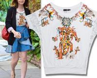 2014 New arrival vintage print beading diamond decoration loose batwing sleeve cotton t shirt women S,M,L Wholesale price