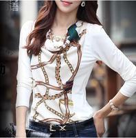 2014 spring new large size women casual T-shirt Slim primer shirt printing long-sleeved chiffon shirt