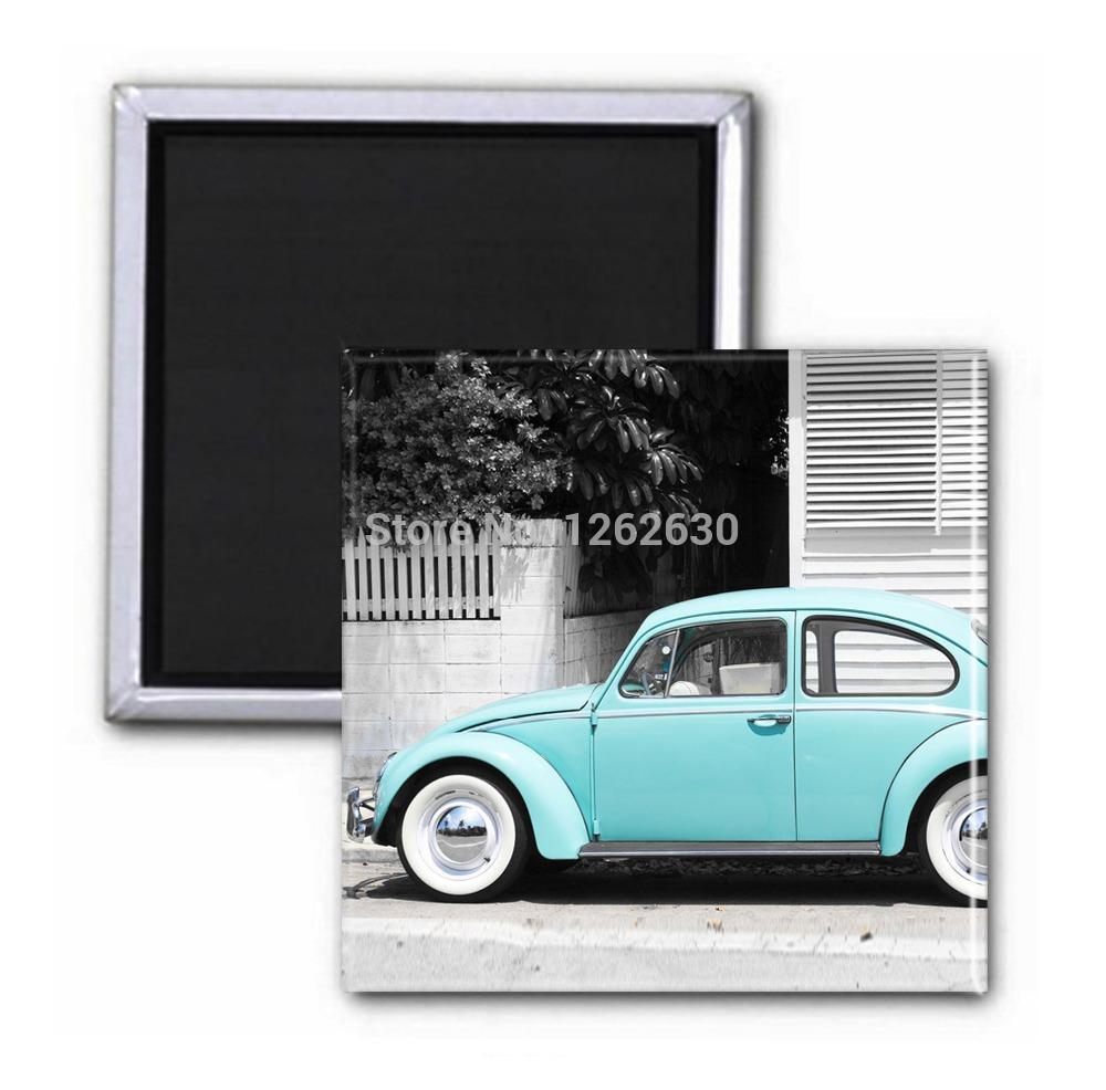3 pcs/lote la bleu vintage vieille voiture aimant de Photo impression réfrigérateur décor réfrigérateurs aimants décoration gros()