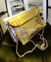 Punk Rivet Bag  Gold Silver Chain Shoulder Bag Envelope Bag Cluth Women's Handbags Fashion Messenger Bag Tote Free Shipping