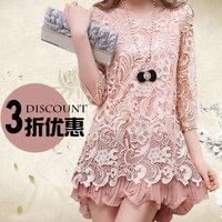 2014 women spring summer quality lace dress plus size plus size  formal chiffon lace one-piece dress 100kg women can wear