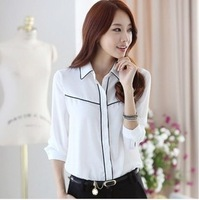 2014 Korean summer in stock fashion women white blouses new casual long-sleeved shirt collar patchwork plus size S-XXL