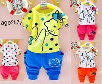 free shipping 2014 Children clothing brand  summer 2pcs Sets hello kitty clothing set baby girls Clothing sets 2-6 year