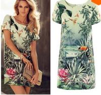 Spring 2014 Women Summer Casual Dress Lady Elegant Big Birds Painting Landscape Print Floral Vestido Chiffon Vintage Dress A90