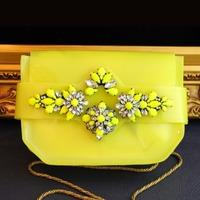 Yellow PVC shourouk women handbag chain srystal flower bags luxurious shoulder hand bags