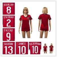 Women Colombia 2014 World Cup Jerseys AGUILAR ZUNIGA ESCOBAR 9 FALCAO GUARIN JAMES Soccer Uniforms LADY Embroidery logo