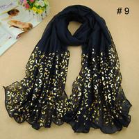 2014 New Design Scarf Women Gilding Plain Glitter Polyester Golden Leopard Shawls Flash Muslim Wrap Scarves 10pcs/lot Wraps