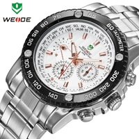 Men watches 2014 luxury brand name WEIDE 30m waterproof military watches calendar Japan quartz LED dress wristwatch dropship