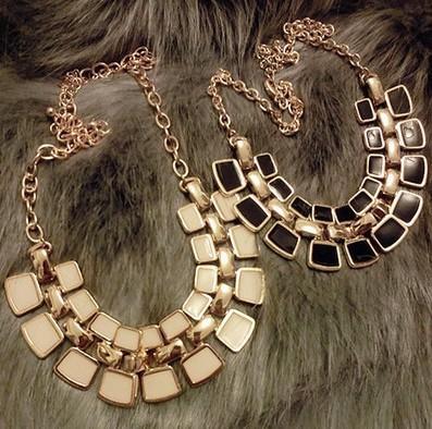 2014 hot Aliexpress Double Rhinestone Geometry Pendant Gold Plated chain Necklace fashion jewelry woman NJ-0395(China (Mainland))