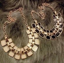 2014 hot Aliexpress Double Rhinestone Geometry Pendant Gold Plated chain Necklace fashion jewelry woman NJ-0395