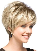 Natural Light Blonde Straight Short Hair Wigs Short Women's Fashion WigNatural Kanekalon hair no lace Full wigs