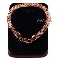 1pcs 7mm Men Women 18K Gold Filled Bracelet Bangles Lobster Clasp Rose Chain Accessories E137