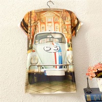 2014 New Fashion Vintage Spring Summer Womens Short Sleeve House Car Graphic Printed T Shirt Tee Blouse Tops Printing Blouses