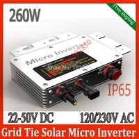 Free shipping IP65  MPPT Micro Solar Grid tie Inverter 22-50V DC Input 260W pure sine wave inverter120/230V AC grid tie inverter