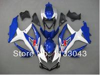 7giftsFor K8 08 09 10 SUZUKI GSX R750 GSX-R750 GSXR 750 Kit Blue/White Y4354 GSXR750 K8 2008 2009 2010 Fairing