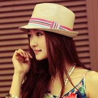 2014 new summer straw hat women's sun hats/fashion good quality all-matching elegant outdoor panama hat Fedora sunhat/ATL