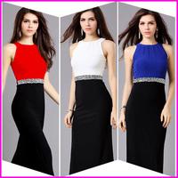 New Arrival Summer Evening Dress Party Dress Long Sleeveless Crystal Luxury Red Blue White Dress Little Black Dress Hanging