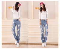 hot sell new arriveal fashion women jeans free shipping personality hole jeans ladies pant  light blue Straight leg pants 972a