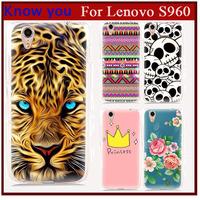 Free shipping!!!!The Rose new 2014 smart cover hard print Plastic back cover phone cases for flip case lenovo s960