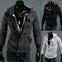 Size M-XXXL Fashion Hot Sale Men's Zipper False two piece Cashmere Hooded Coat Jackets Free Shipping LJM023