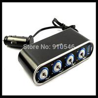 Hot Sale 4 Way Car Cigarette Lighter +LED Light Switch Auto Socket Splitter Charger USB 12V/24V Drop Shipping