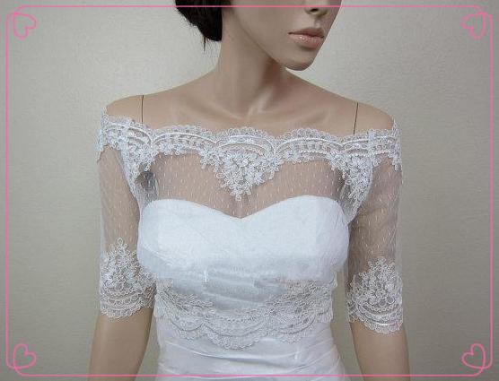 Ingrosso- 2014 economici off spalla dot pizzo bolero giacca da sposa bolero da sposa bolero di nozze con alencon pizzo