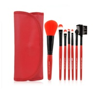 Free shipping 2014 Newest Basic High quality 7pcs nylon hair makeup brushes set brushes kit with PU pouch red color