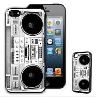 Newest Innovative Hard Plastics Retro Ghettoblaster Boombox For iPhone 5 5C 5S 4S 4 Case ,Freeshipping