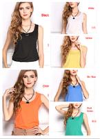 2015 new plus size chiffon vest women slim sleeveless fashion blouses shirts 13 candy color women clothing tank tops for women