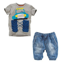 New 2014 baby boy clothing set car, T shirt+denim shorts, baby & kids set, brand, cotton, children's fashion 2014 Free Shipping