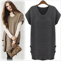 UK 2014 Autumn Winter Dress ZA Women Plus Size M L XL,XXL,XXXL XXXXL Black Khaki Grey Wool Knitted Sweater Dress V neck vestidos
