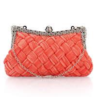 Fashion Ladies' Clutch Handbag Simple Fashion Woven PU Leather Shoulder Chain Clip Handbag Wallet Women Evening Bag