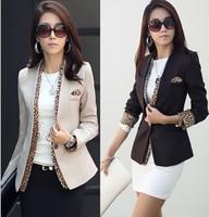 2014 new leopard blazer women's spring summer korean style coat fashion jacket one button leopard decorated jacket