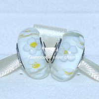 2pcs 925 Sterling Silver Thread Core White Daisies Murano Glass Charm Beads Fit European Jewelry Bracelets & Necklaces