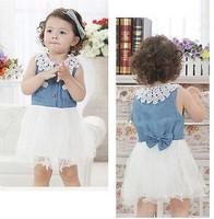 Korean baby girls denim dress Dress infants and young children dress princess dress