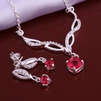 Wholsale new FASHION jewelry  925 Sterling Silver necklace earrings set Penoyjewelry LKNSPCS637